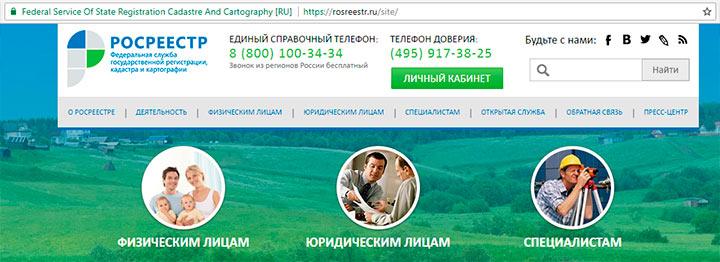 Сайт Росреестра